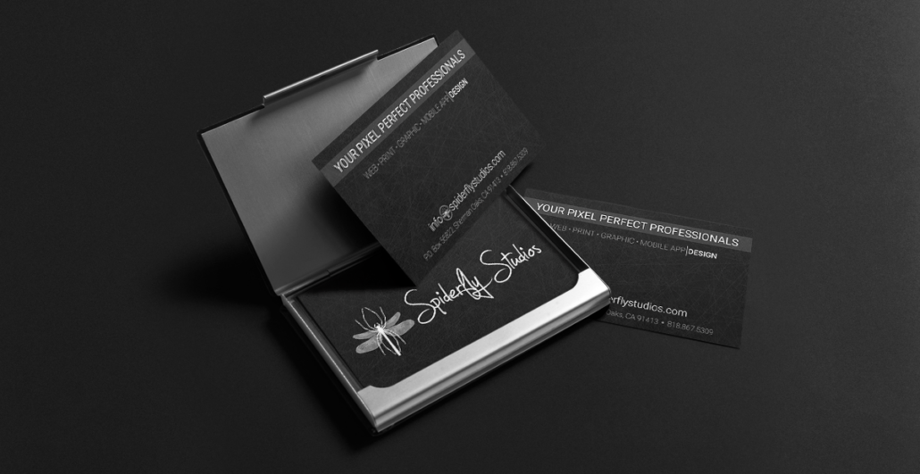 Business card design print spiderfly studios are included in every business card order at no additional cost such options include rounded corners different card sizes and a free card holder colourmoves