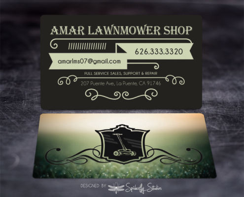 Amar Lawnmower Shop Business Cards - Spiderfly Studios