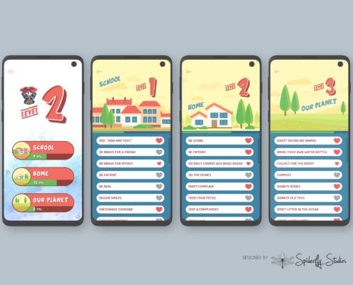 Pika Bunny Kindness Tracker - App Screens
