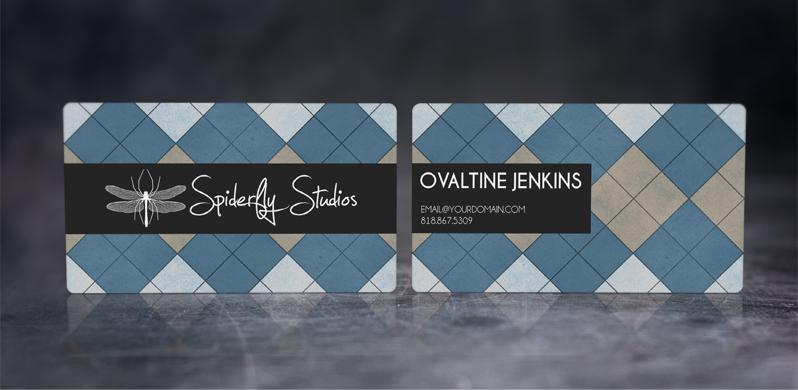Argyle Business Cards - Blue