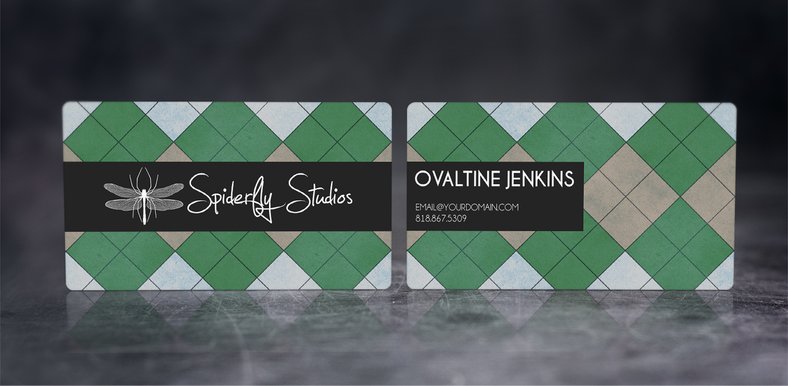 Argyle Business Cards - Green