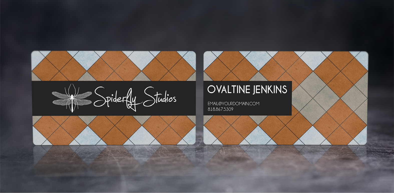 Argyle Business Cards - Orange