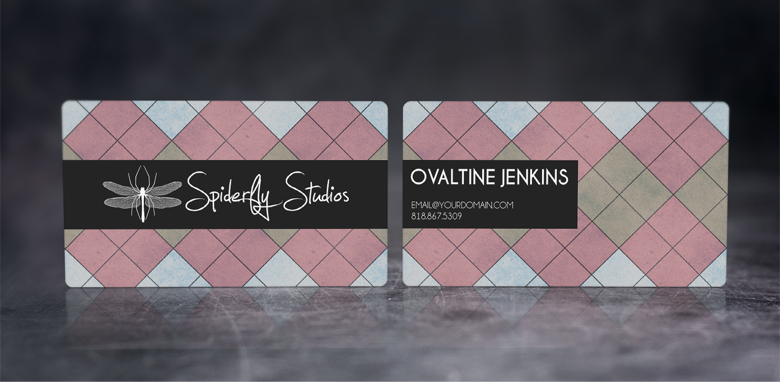Argyle Business Cards - Pink