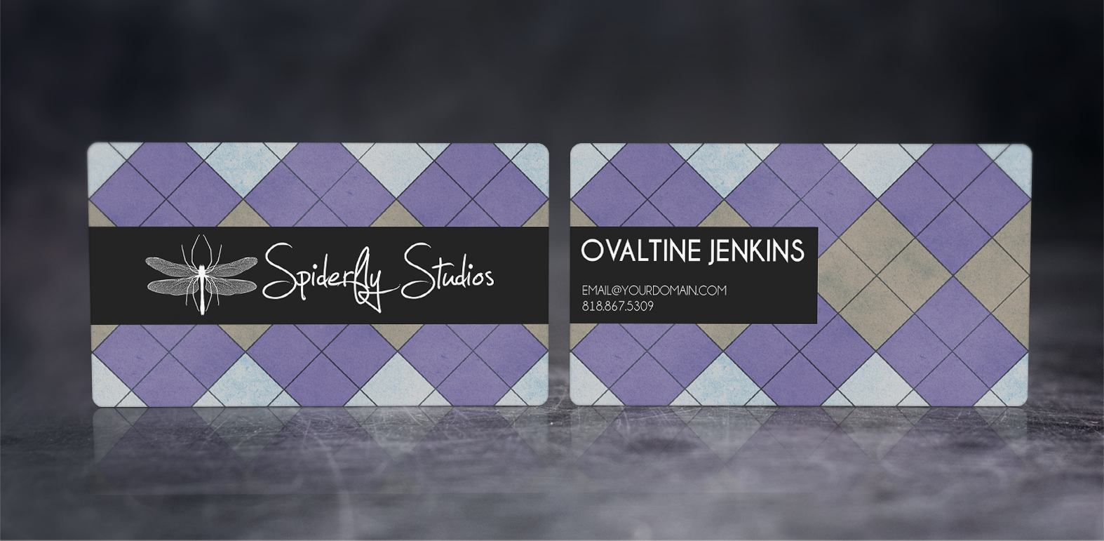 Argyle Business Cards - Purple