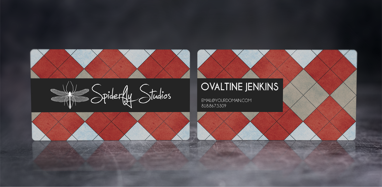 Argyle Business Cards - Red