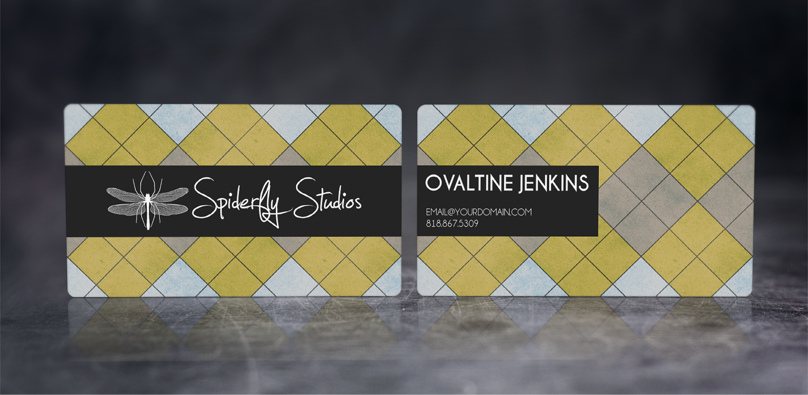 Argyle Business Cards - Yellow