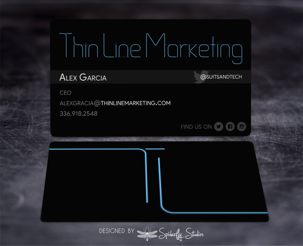 Thin Line Marketing Business Cards – Spiderfly Studios