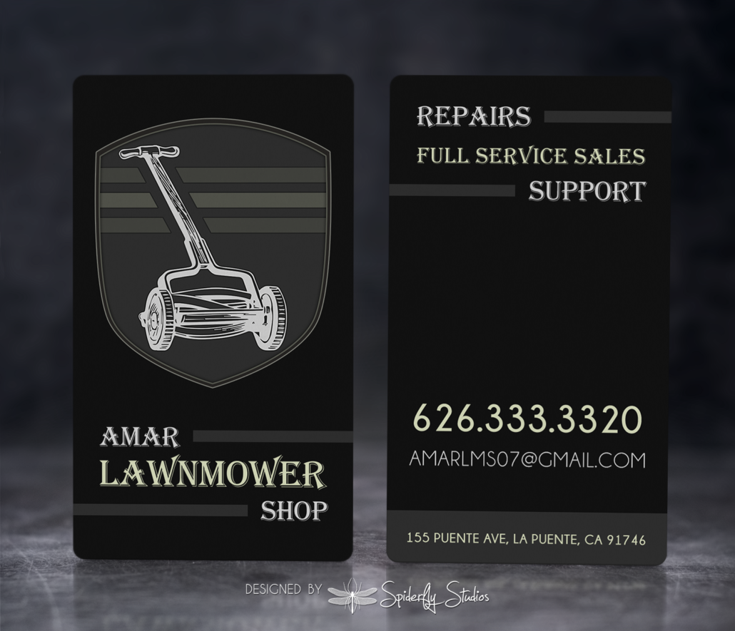 Amar Lawnmower Shop - Business Cards - Spiderfly Studios