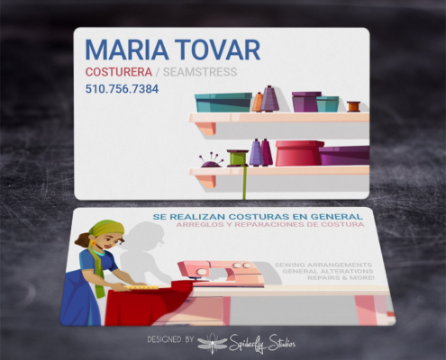 Maria Tovar - Seamstress - Business Cards - Spiderfly Studios