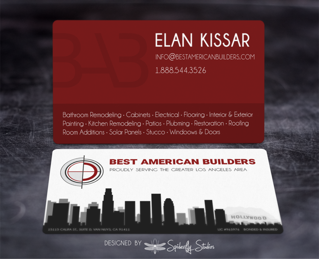 Best American Builders Business Cards - Spiderfly Studios