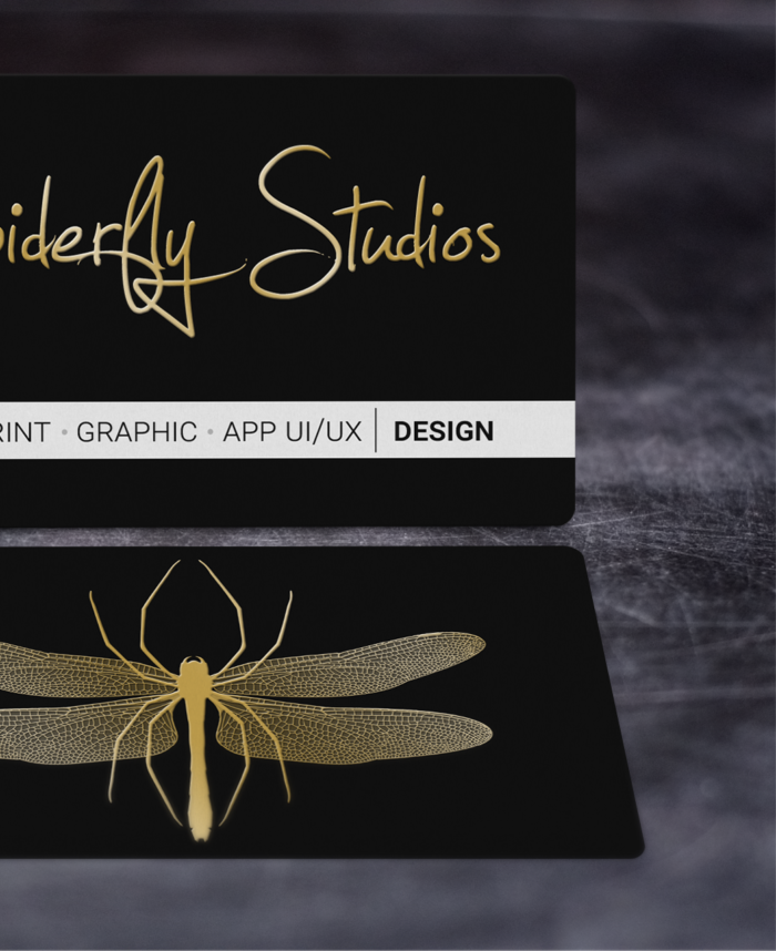 Raised Gold Foil Business Cards - Spiderfly Studios