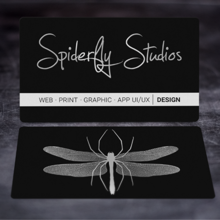 Raised Silver Foil Business Cards - Spiderfly Studios
